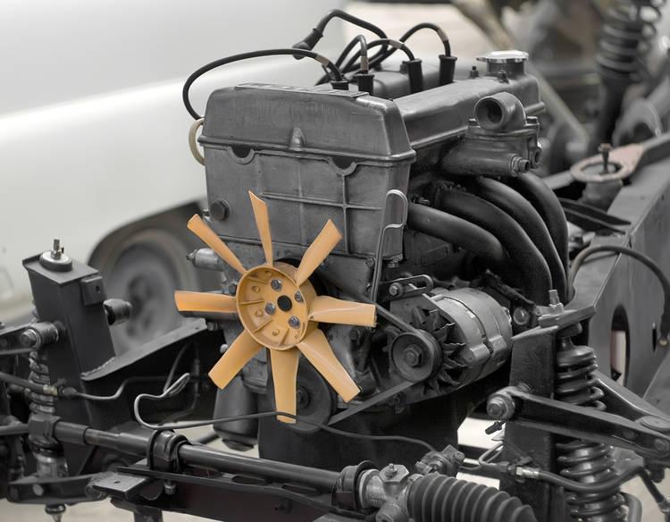 Sistema de enfriamiento por aire de un auto antiguo